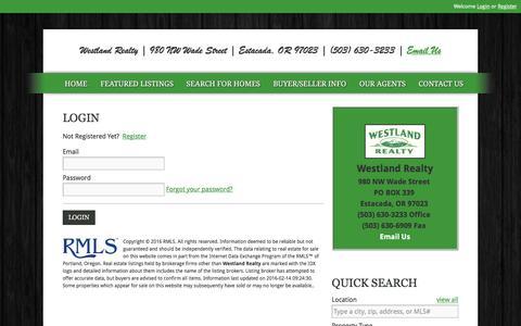 Screenshot of Login Page westlandrealtyllc.com - User Login   Westland Realty   503-630-3233   Estacada OR Homes for Sale, Eagle Creek OR Homes for Sale - captured Feb. 14, 2016