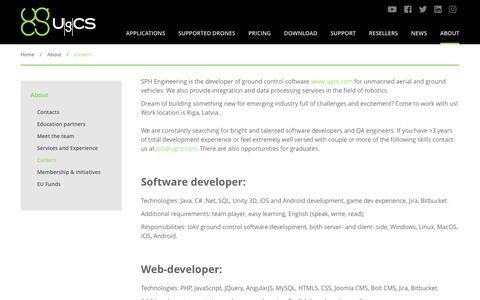 Screenshot of Jobs Page ugcs.com - Careers | UgCS - captured Oct. 1, 2018