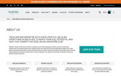 Screenshot of About Page wellnessfitnessnutritionstore.com - About Wellness Fitness Nutrition Store - captured Dec. 3, 2016