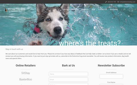 Screenshot of Contact Page distinctivedog.com - Contact Us - Distinctive Dog Healthy Treats - captured Aug. 2, 2016