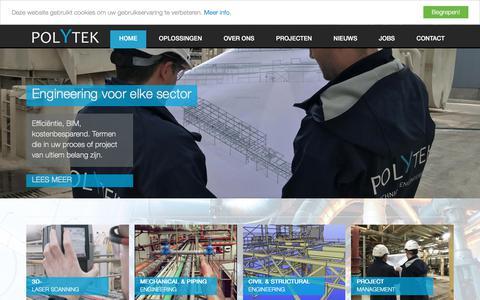 Screenshot of Home Page polytek.be - Polytek | Engineering voor elke sector - captured Sept. 25, 2018