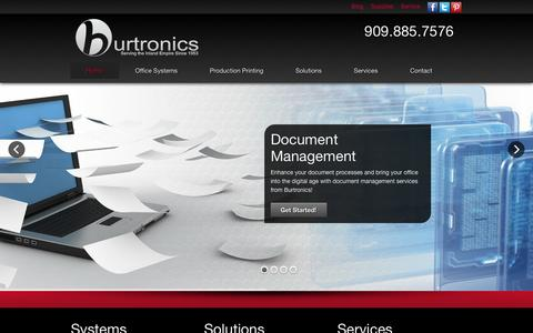Screenshot of Home Page burtronics.com - Burtronics Business Systems | Copiers, Duplicators, Printers, Facsimile and the full range of MultiFunction Devices - captured Oct. 5, 2014