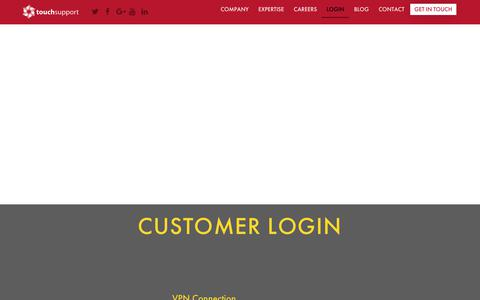 Screenshot of Login Page touchsupport.com - Customer Login - TouchSupport - captured May 17, 2019