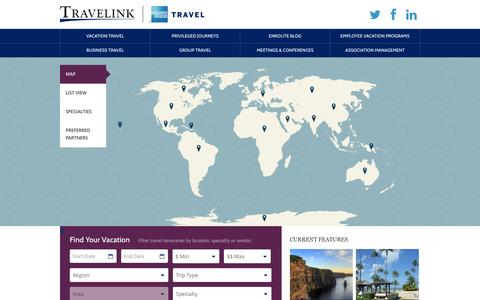 Screenshot of Locations Page travelink.com - Map Your Vacation - captured Oct. 7, 2014