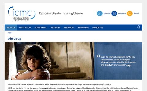 Screenshot of About Page icmc.net - About the International Catholic Migration Commission - captured Feb. 3, 2016
