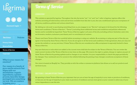 Screenshot of Terms Page lagrima.com - Terms of Service | Lágrima, LLC - captured May 13, 2017