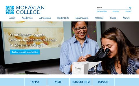 Screenshot of Home Page moravian.edu - Home | Moravian College - captured July 14, 2019