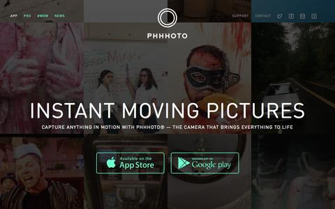 Screenshot of Home Page phhhoto.com - PHHHOTO� - Instant Moving Pictures - captured Oct. 23, 2015