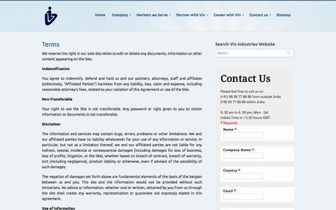 Screenshot of Terms Page vin.co.in - Terms and Conditions : Vin Industries | Vin Industries - Plastic & Rubber Additives Manufacturer and Distributor - captured Oct. 26, 2014