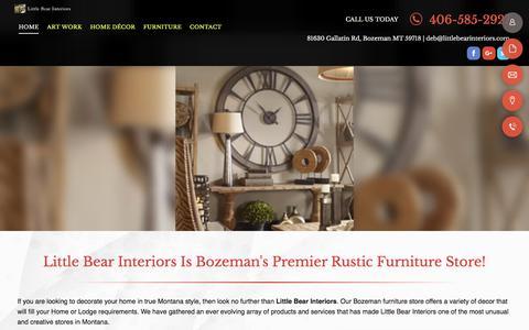 Screenshot of Home Page littlebearinteriors.com - Furniture | Bozeman, MT |Little Bear Interiors - captured July 21, 2018