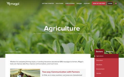 Screenshot of Case Studies Page magpi.com - Agriculture - Magpi - captured May 20, 2016