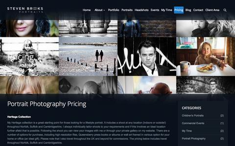 Screenshot of Pricing Page stevenbrooksportraits.co.uk - Pricing - Steven Brooks Portraits - captured Oct. 7, 2014