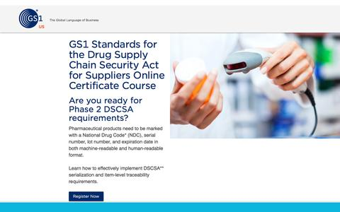 Screenshot of Landing Page gs1us.org - GS1 Standards: Drug Supply Chain Security Act (DSCSA) Certificate Course - captured March 6, 2018