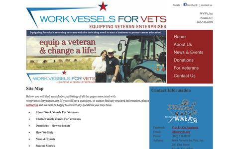 Screenshot of Site Map Page workvesselsforveterans.org - Sitemap, Work Vessels For Veterans - captured Feb. 24, 2016