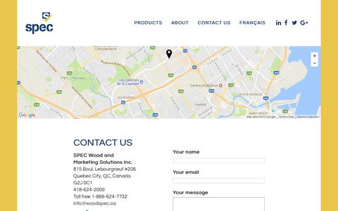 Screenshot of Contact Page woodspec.ca - Contact us | SPEC Wood and Marketing Solutions Inc. - captured July 7, 2017
