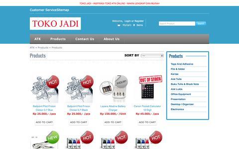 Screenshot of Products Page tokojadi.net - Toko ATK Alat Tulis Kantor, Whiteboard,  Kertas Photocopy - captured Sept. 30, 2014