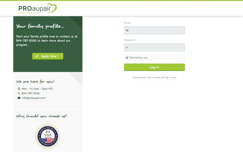 Screenshot of Login Page myproaupair.com - Member PROaupair.com - Start your family profile now! - captured Oct. 9, 2014