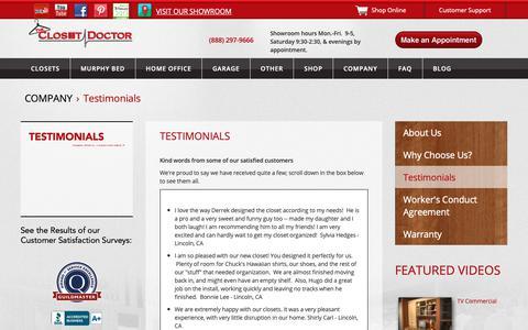 Screenshot of Testimonials Page closet-doctor.com - Testimonials | The Closet Doctor - captured Oct. 18, 2018
