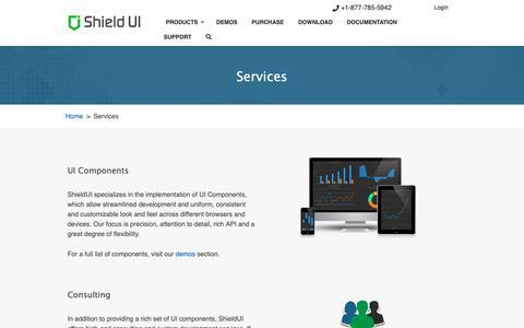 Screenshot of Services Page shieldui.com - Services | Shield UI - captured Feb. 5, 2019