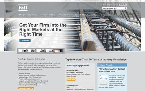 Screenshot of Home Page fminet.com - Management Consulting   Investment Banking   FMI Corp. - captured Sept. 19, 2014
