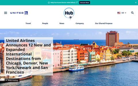 Screenshot of Press Page united.com - Newsroom - United Hub - captured Sept. 12, 2019