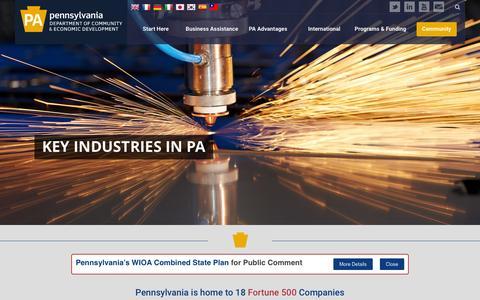 Screenshot of Home Page newpa.com - PA Department of Community & Economic Development - captured Jan. 26, 2016