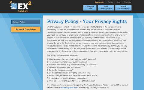 Screenshot of Privacy Page exsquared.com - Privacy Policy | EX² Solutions - captured Sept. 25, 2014
