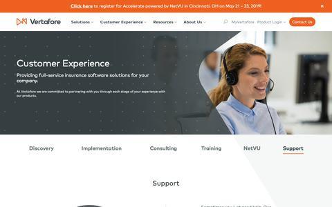 Screenshot of Support Page vertafore.com - Customer Experience | Vertafore - captured Jan. 24, 2019