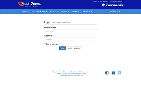 Screenshot of Login Page hostdepot.com - Host Depot - Client Area - captured Aug. 31, 2016