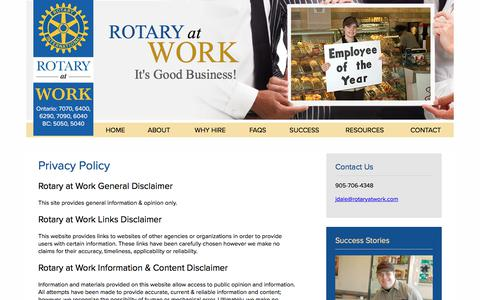 Screenshot of Privacy Page rotaryatwork.com - Privacy Policy - Rotary at Work - captured Sept. 21, 2018