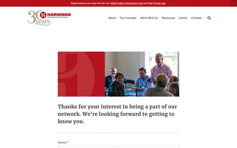 Screenshot of Contact Page Signup Page theharwoodinstitute.org - Sign up — The Harwood Institute - captured Oct. 20, 2018
