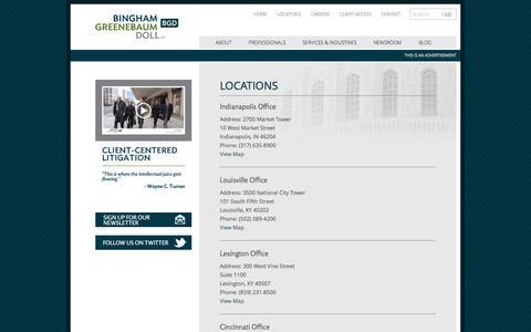 Screenshot of Locations Page bgdlegal.com - Locations | Bingham Greenebaum Doll LLP - captured Oct. 8, 2014