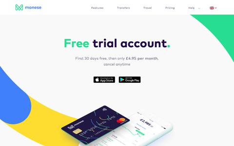 Screenshot of Trial Page monese.com - Free trial account - First month free | Monese - captured Aug. 26, 2017