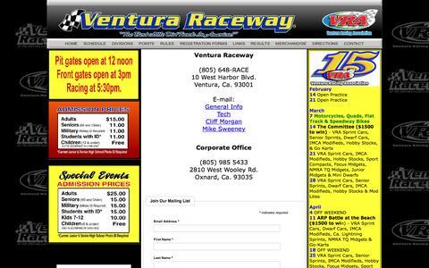 Screenshot of Contact Page venturaraceway.com - Contact Page - captured Feb. 23, 2016