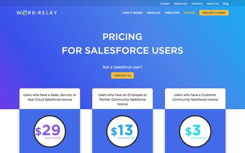 Screenshot of Pricing Page work-relay.com - Pricing | Work Relay - Work Management and Automation Cloud for Salesforce - captured Sept. 28, 2017