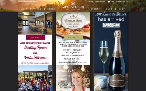 Screenshot of Home Page gloriaferrer.com - Gloria Ferrer - Sonoma, California - captured Sept. 19, 2015