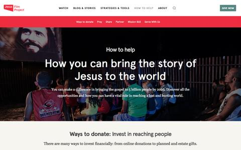 Screenshot of Support Page jesusfilm.org - How To Help | Jesus Film Project - captured Sept. 12, 2016