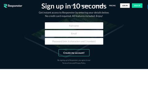 Screenshot of Signup Page responster.com - Responster - Signup - captured Nov. 10, 2017