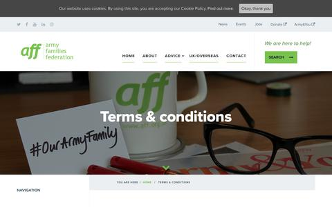 Screenshot of Terms Page aff.org.uk - Terms & conditions - Army Families Federation - captured Oct. 4, 2018