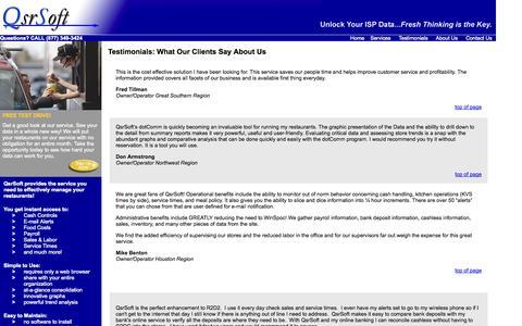 Screenshot of Testimonials Page qsrsoft.com - QsrSoft - Client Testimonials - captured Sept. 29, 2014