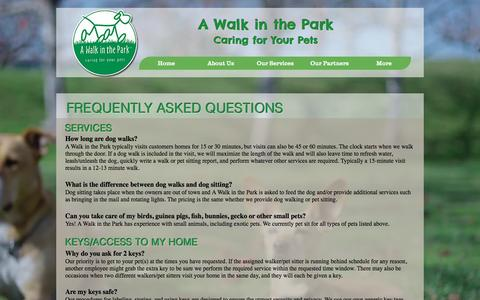 Screenshot of FAQ Page awalkinthepark.net - awitp | FAQ - captured Sept. 29, 2016