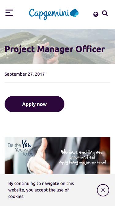 Screenshot of Jobs Page  capgemini.com - Job Offer - Project Management Officer