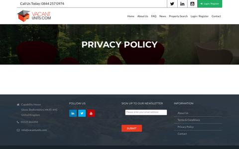 Screenshot of Privacy Page vacantunits.com - Privacy Policy - Vacant Units - captured Nov. 11, 2017