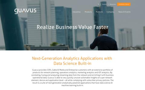Screenshot of Products Page guavus.com - Marketing Analytics | Operational Analytics | IOT Analytics - captured Oct. 1, 2015