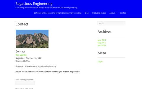 Screenshot of Contact Page sagaciousengineering.com - Contact - Sagacious Engineering - captured Sept. 30, 2014