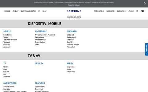 Screenshot of Site Map Page samsung.com - Mappa Del Sito | Samsung IT - captured Feb. 12, 2018