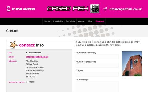 Screenshot of Contact Page cagedfish.co.uk - Contact Caged Fish Web Design Market Harborough Leicestershire - captured May 13, 2017