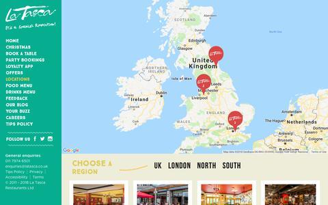 Screenshot of Locations Page latasca.com - Locations   La Tasca - captured Dec. 7, 2018