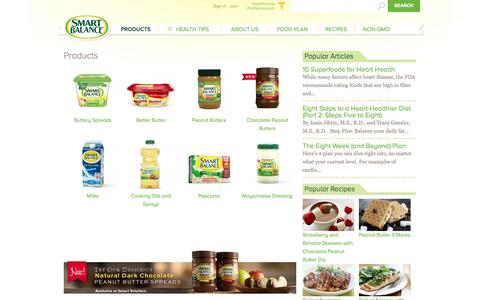 Screenshot of Products Page smartbalance.com - Our Range of Heart-Healthier Products | Smart Balance - captured Sept. 22, 2014