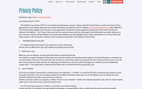 Screenshot of Privacy Page childrenslawcenter.org - Privacy Policy | Children's Law Center - captured Nov. 4, 2018